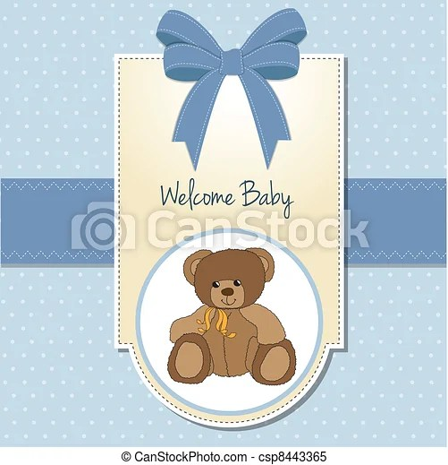 Baby boy welcome card with teddy bear