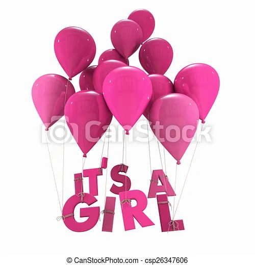Baby girl birth announcement 3d rendering of blue balloons with it - Birth Of Baby Girl