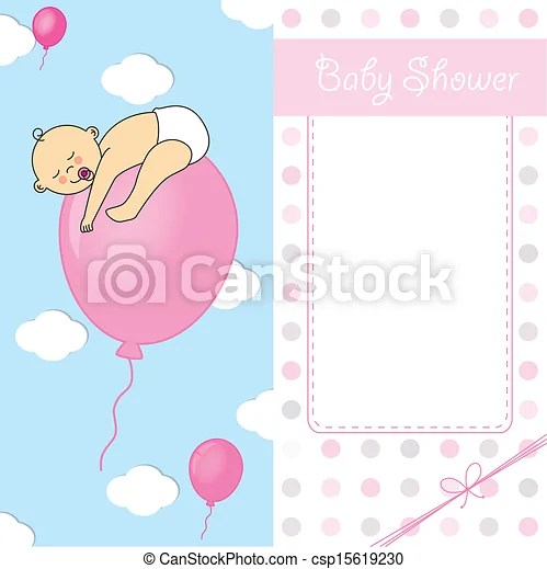 Child sleeping on top of a balloon baby girl birth card - Birth Of Baby Girl