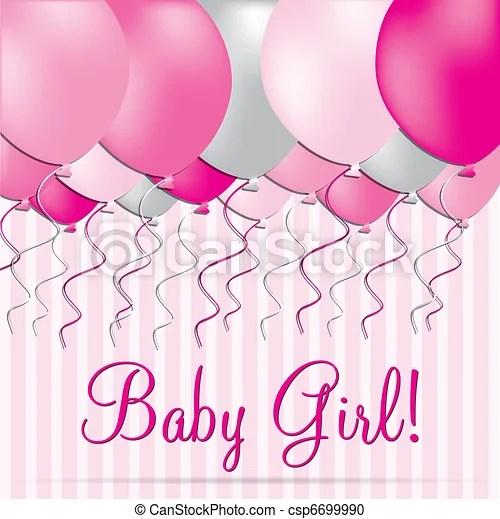 Baby girl Baby girl balloon card in vector format