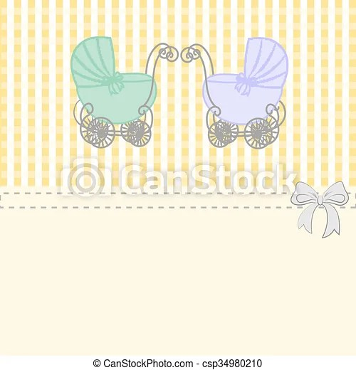 Baby shower announcement twins, vintage baby stroller invitation or