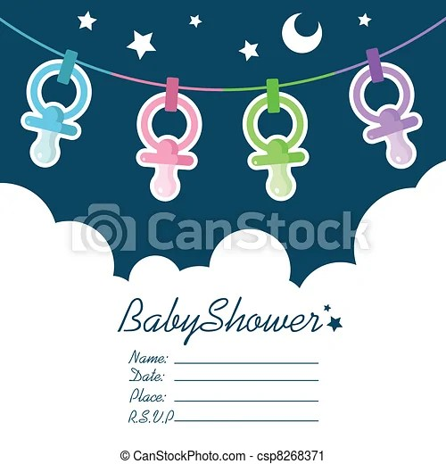Baby shower invitation greeting card vector clip art - Search