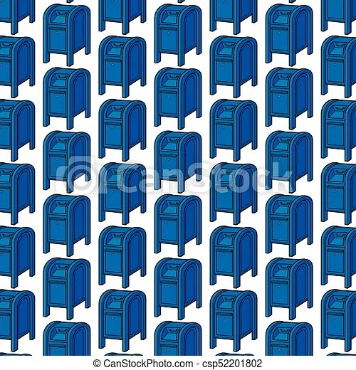 Background pattern with blue mail boxes - mail background
