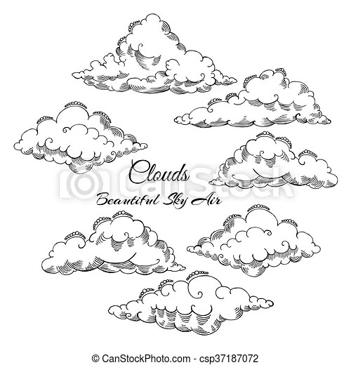Background with clouds sketches hand drawn sky vector vectors - background sketches