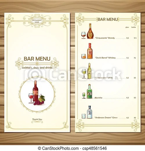 Bar menu template with different alcoholic beverages drinks eps