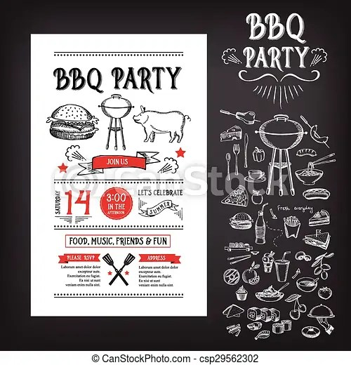 Barbecue party invitation bbq template menu design food flyer