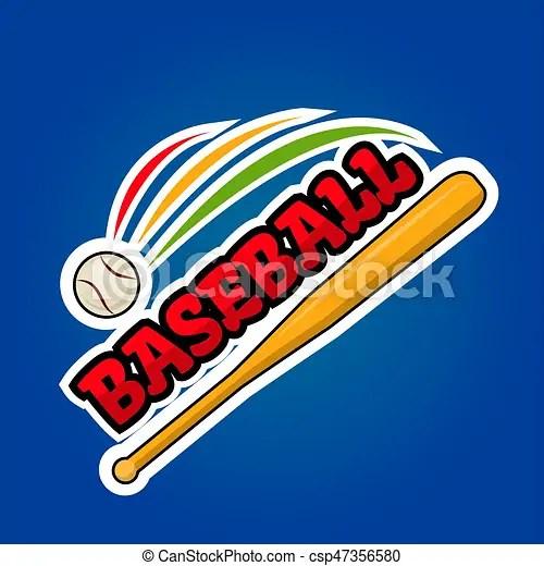 Baseball logo design with moving ball and wooden bat vector