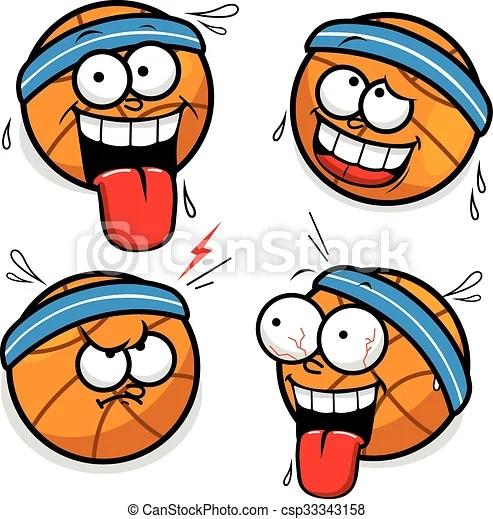 Basketball cartoon faces Vector illustrations of funny basketball