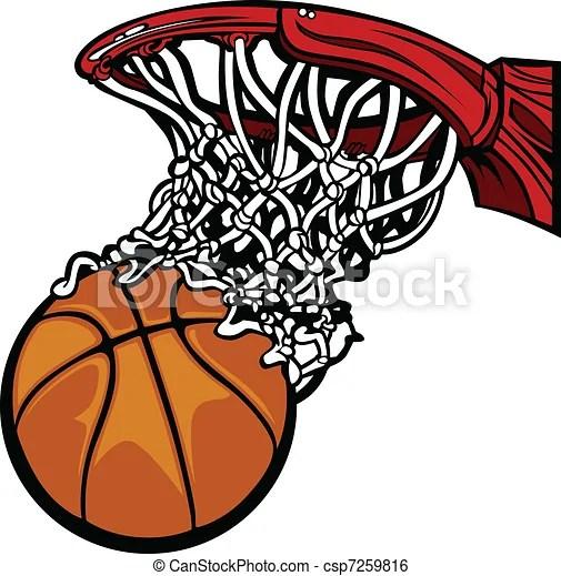 Basketball hoop with basketball Cartoon image of a basketball