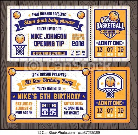Basketball vector ticket templates Colorful vector template tickets