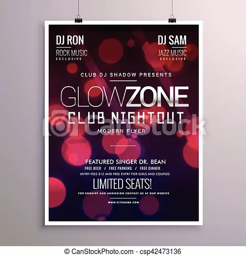 Beautiful event flyer design with bokeh background vectors - Search