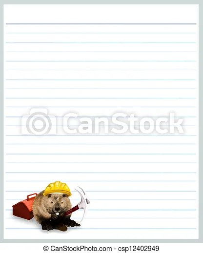 Beaver on grey color lined paper  Hand drawing of worker drawing - color lined paper