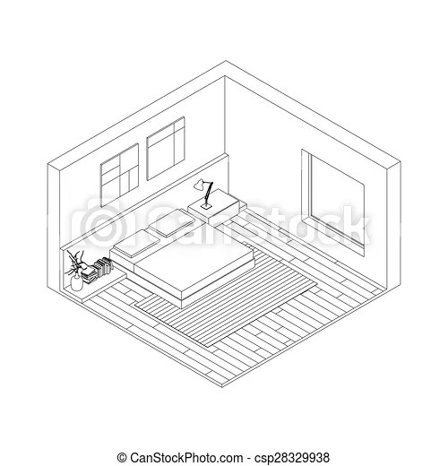 Line drawing of the interior of bedroom isometric view vectors - isometric view