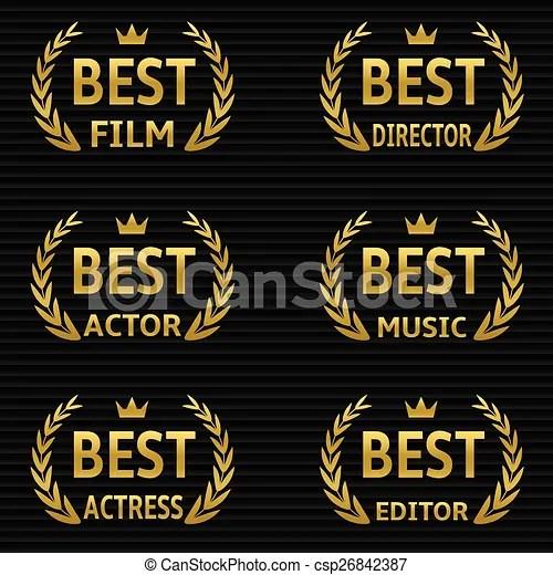 Best film awards vector golden winner icons vector - Search Clip