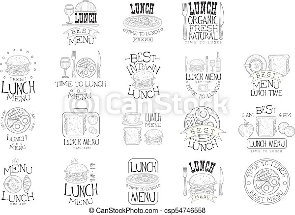 Best in town organic lunch menu set of hand drawn black and white