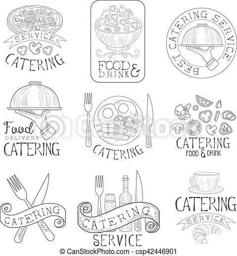 Best quality catering service set of hand drawn black and white sign