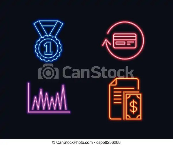 Best rank, Line graph and Refund commission icons Payment sign Success  medal, Market diagram, Cashback card