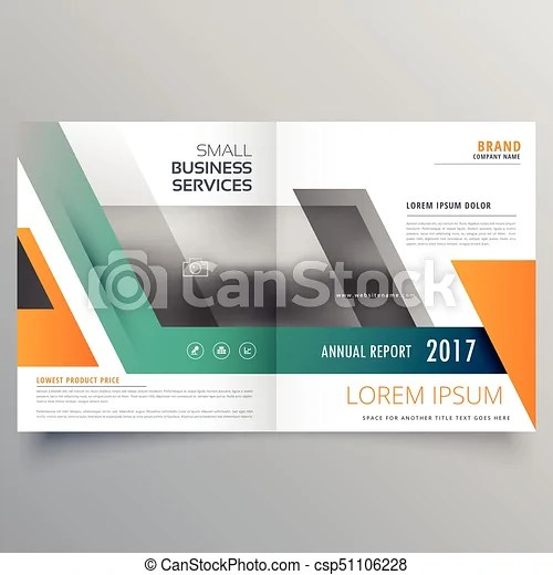 Bi fold brochure template design made with geometric shapes