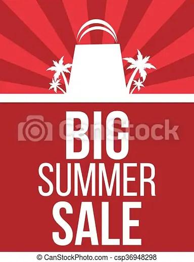 Big summer sale poster design Big summer sale modern red poster design - sale poster design