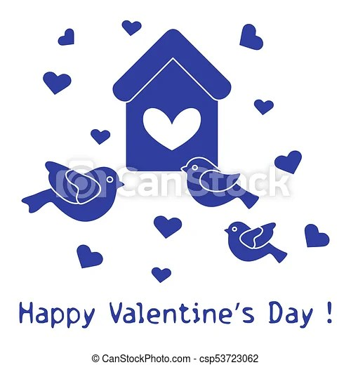 Birds, birdhouse and hearts valentine\u0027s day Cute picture with
