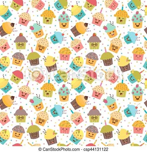 Birthday background kawaii cupcakes seamless pattern with - birthday backround