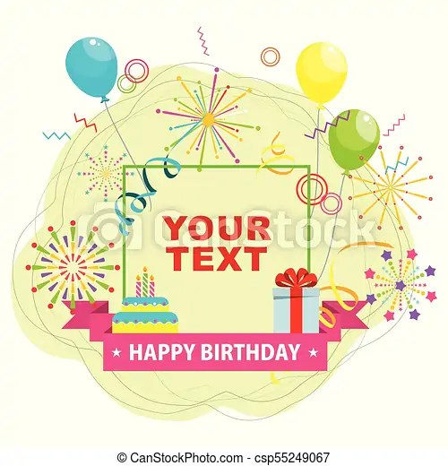 Birthday card template Birthday party flat vector cartoon greeting - template for a birthday card