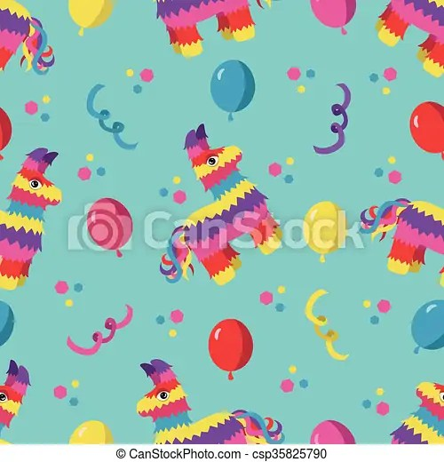 Birthday party seamless pattern with colorful pinata, balloons and