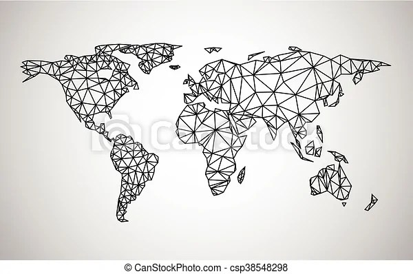 Black abstract world map vector paper illustration