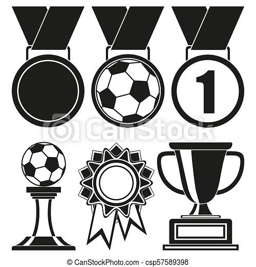 Black and white 6 elements award silhouette set