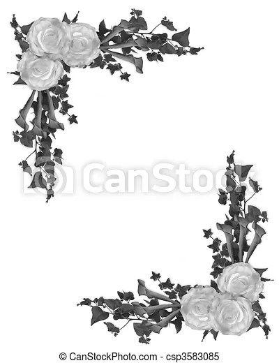 Black and white floral border Image and illustration composition of