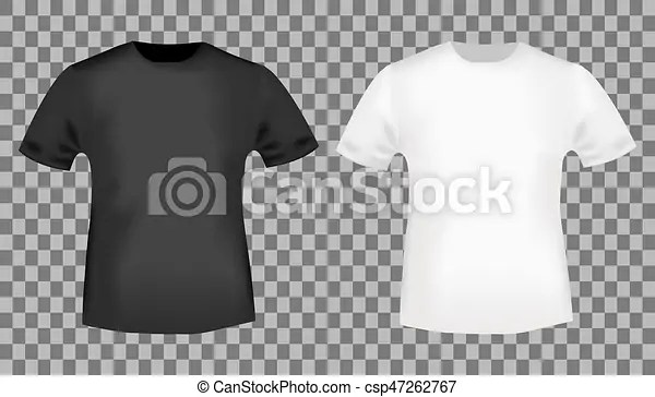 Black and white t-shirt template blank front view t shirt mockup