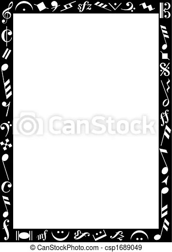 Black border with music signs Background with a black eps - black border background