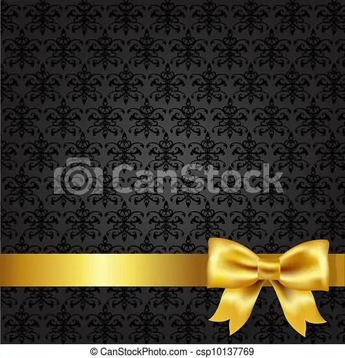 Black damask background with gold bow, vector illustration