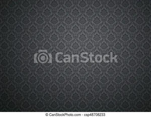 Black damask pattern background Black damask wallpaper with floral