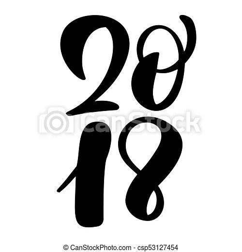 Black number christmas 2018 hand drawn lettering on white clipart - number template