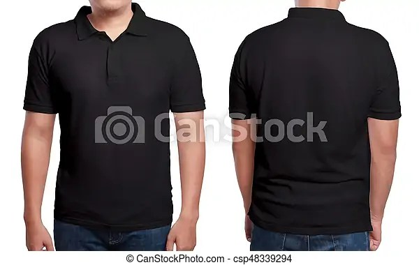 Black polo shirt design template Black polo t-shirt mock up, front