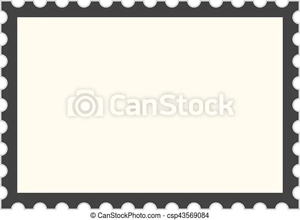 Black postage stamp template concept of message, indentation - stamp template