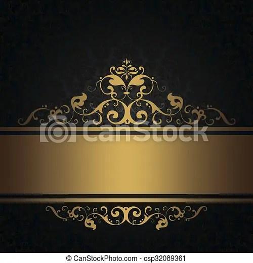 Black vintage background with gold border