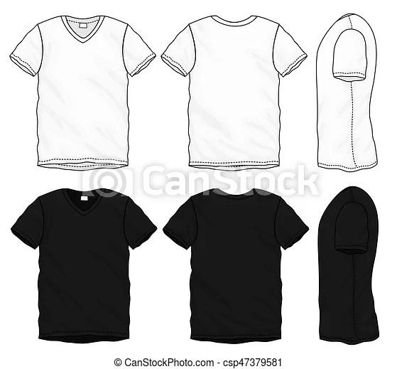 Black white v-neck t-shirt design template Vector vector - t shirt template