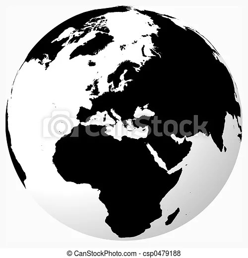 Black  white world Black on white globe