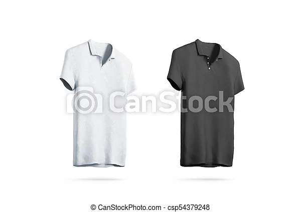 Blank black and white polo shirt mockup isolated, front side view