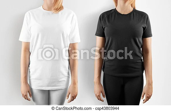 Blank black and white t-shirt design mockup, isolated women wear