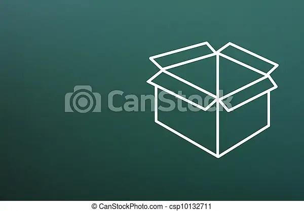 Blank box drawn on a blackboard background Blank box drawn on a