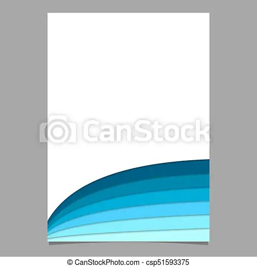 Blank brochure template from curved stripes in blue tones - vector