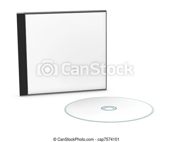 Blank cd or dvd jewel case One cd or dvd case with a disc (3d render)