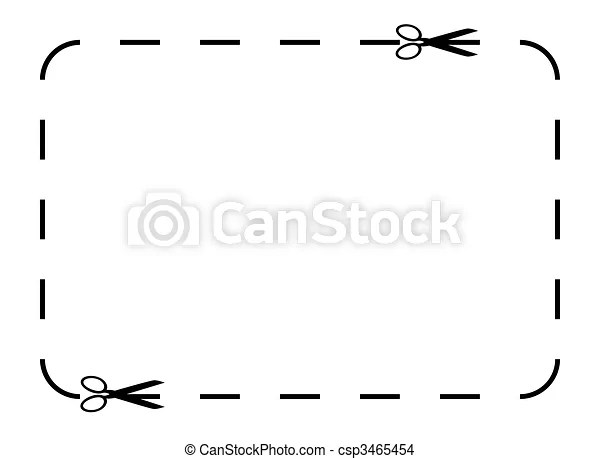 Blank coupon or voucher border isolated on white background with