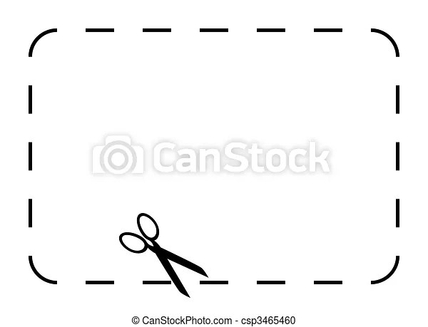 Blank coupon or voucher border isolated on white background with - blank voucher