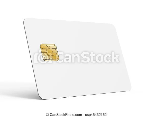 Blank credit card template, empty chip card for design in 3d - printable credit card template
