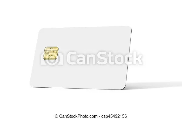 Blank credit card template, empty chip card for design in 3d