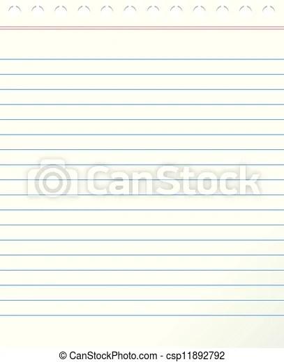 Blank lined paper, vector illustration